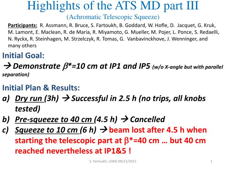 highlights of the ats md part iii achromatic telescopic squeeze n.