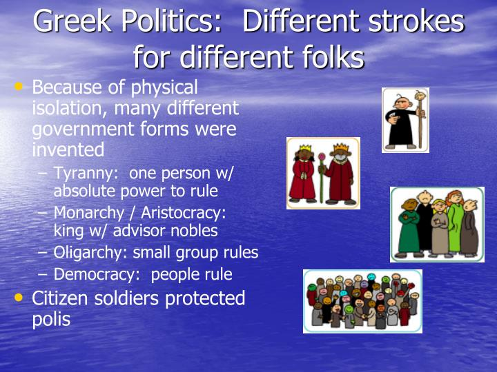 greek politics Introduction to ancient greek political thought according to ernest barker, the origin of political thought began with the ancient greeks in other words, greek political thought is considered one of the oldest in the world it had a profound influence on the political institutions of not only the.