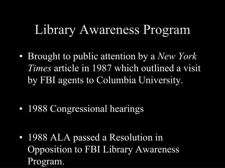 Library Awareness Program