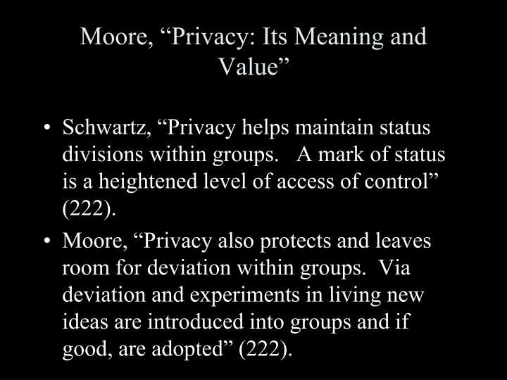 """Moore, """"Privacy: Its Meaning and Value"""""""