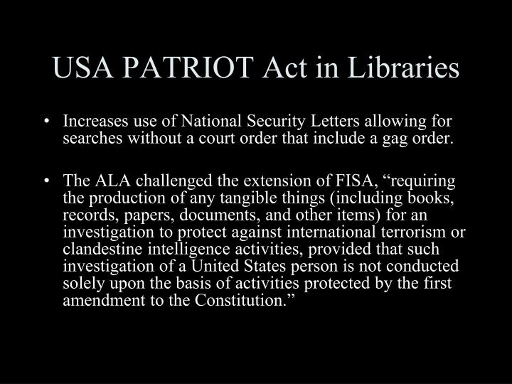 USA PATRIOT Act in Libraries