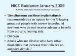 nice guidance january 2009 national institute for health and clinical excellence