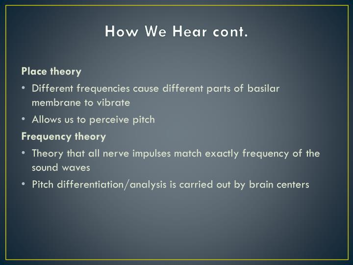 How We Hear cont.