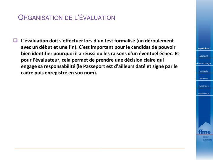 Organisation de l'évaluation