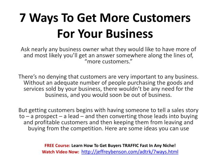 7 ways to get more customers for your business n.