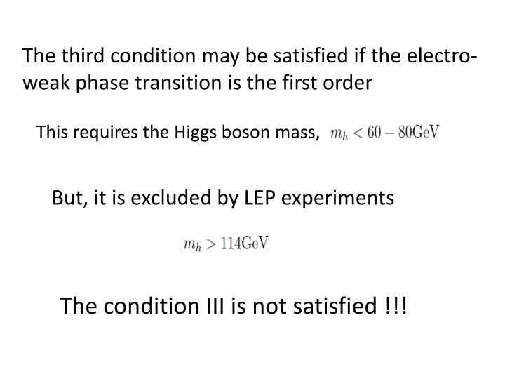 The third condition may be satisfied if the electro-weak phase transition is the first order