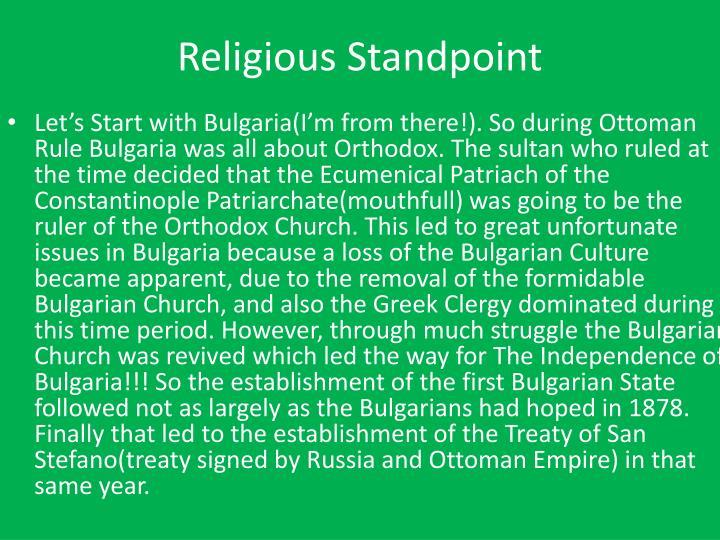 Religious standpoint