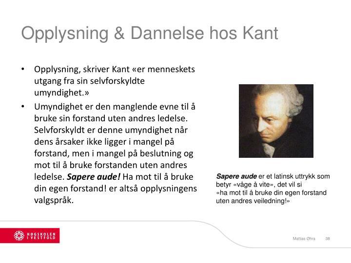 Opplysning & Dannelse hos Kant