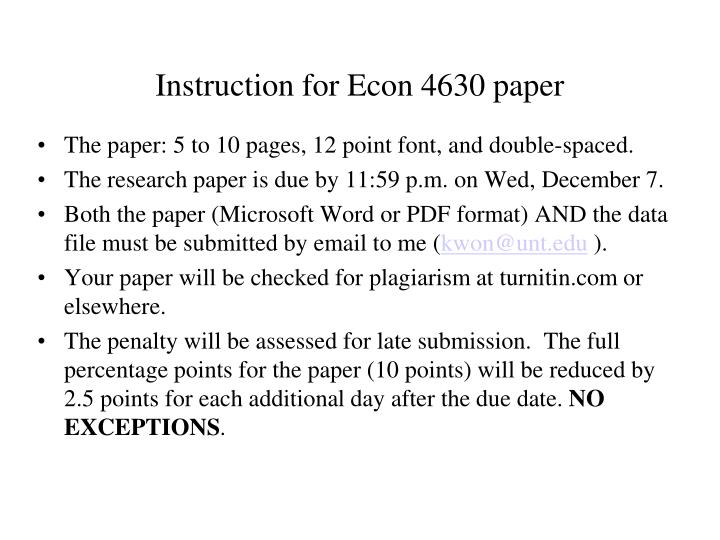 instruction for econ 4630 paper n.