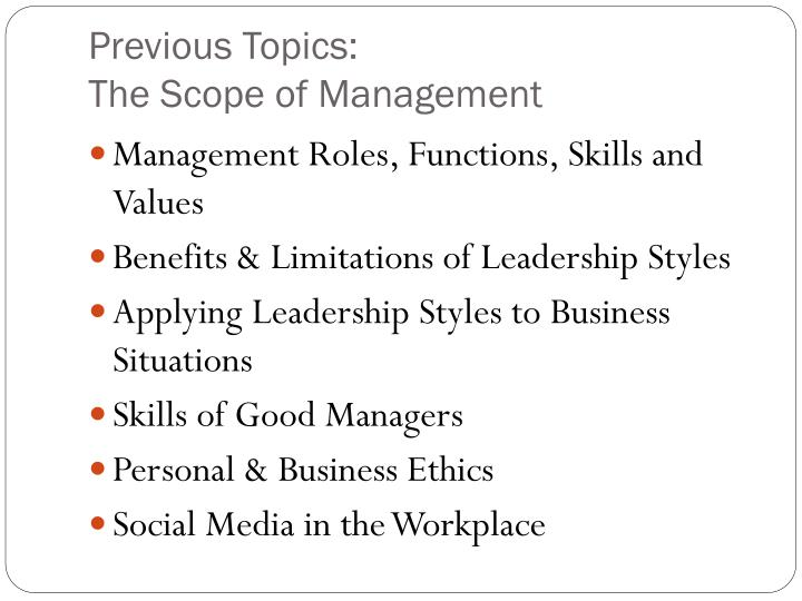 Previous topics the scope of management