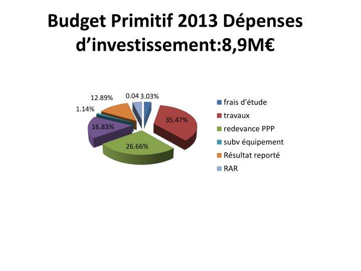 Budget Primitif 2013 Dépenses d'investissement:8,9M€