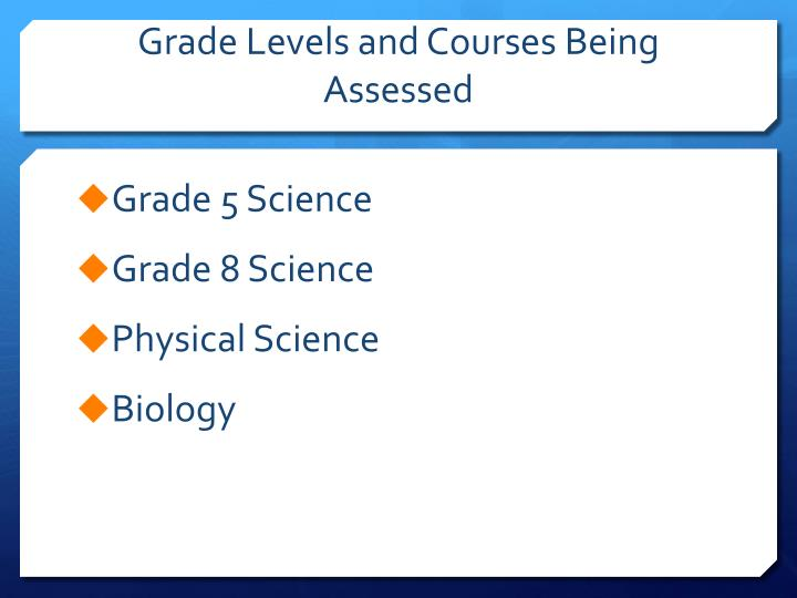 Grade levels and courses being assessed