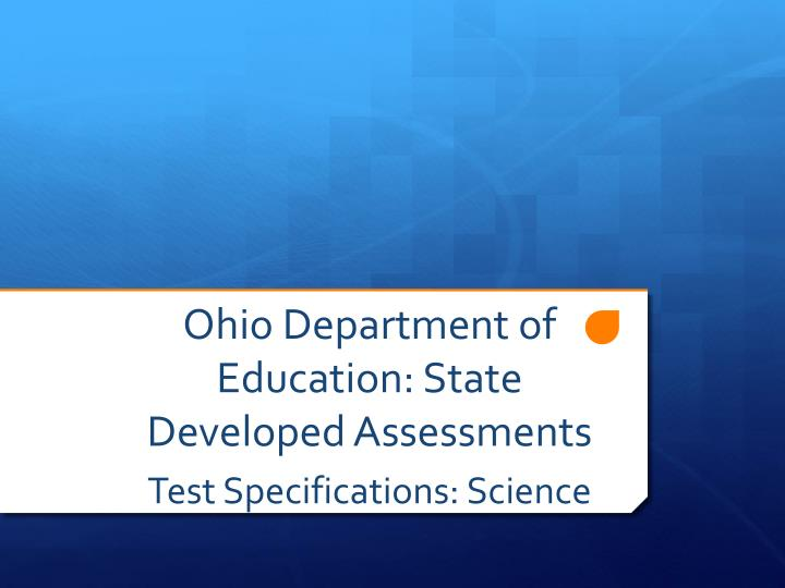 Ohio department of education state developed assessments