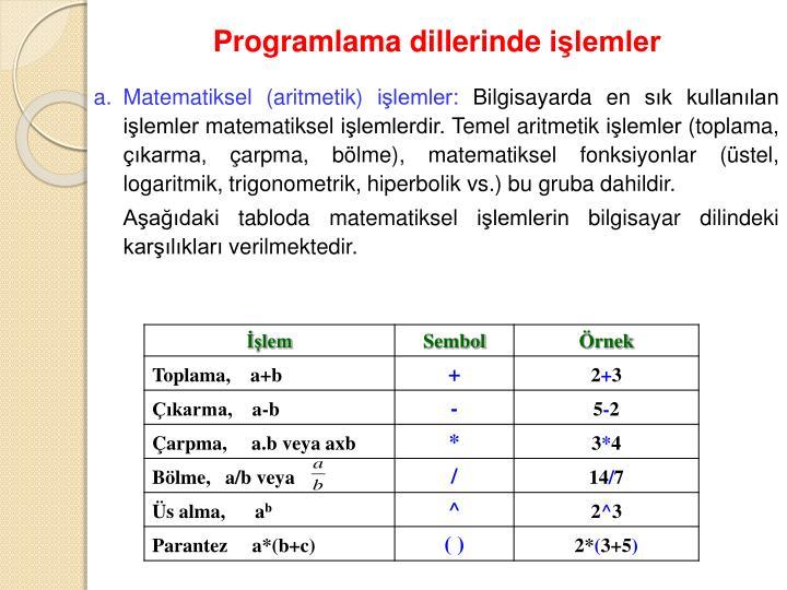 Programlama dillerinde