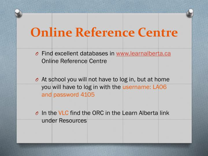 Online Reference Centre