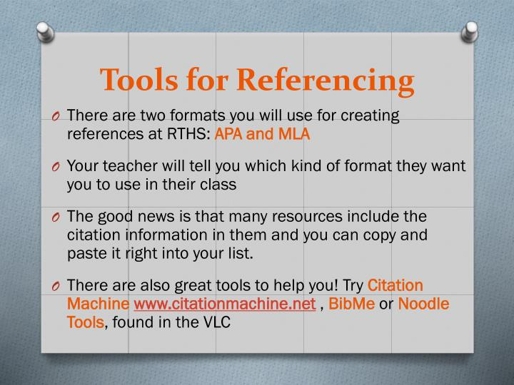 Tools for Referencing