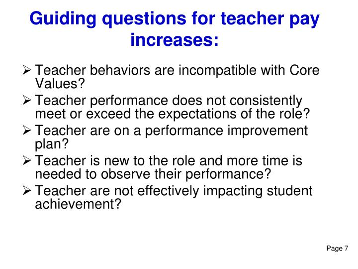 Guiding questions for teacher pay increases: