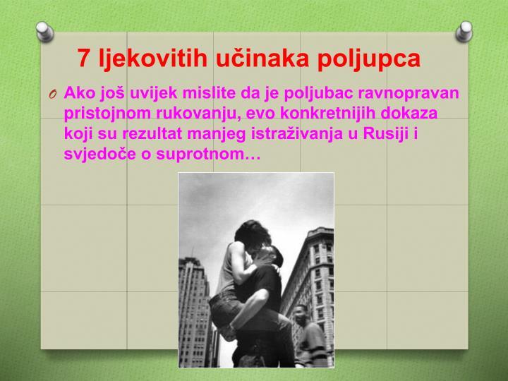 7 ljekovitih učinaka poljupca