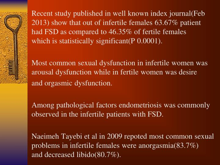 Recent study published in well known index journal(Feb 2013) show that out of infertile females 63.67% patient had FSD as compared to 46.35% of fertile females which is statistically significant(P 0.0001).