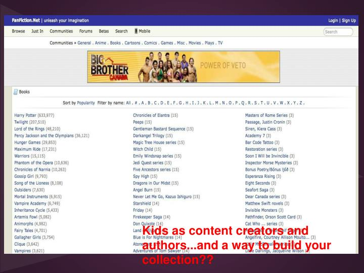 Kids as content creators and authors...and a way to build your collection??