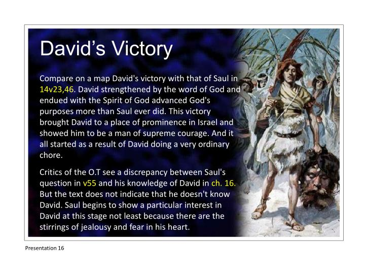 Compare on a map David's victory with that of Saul in
