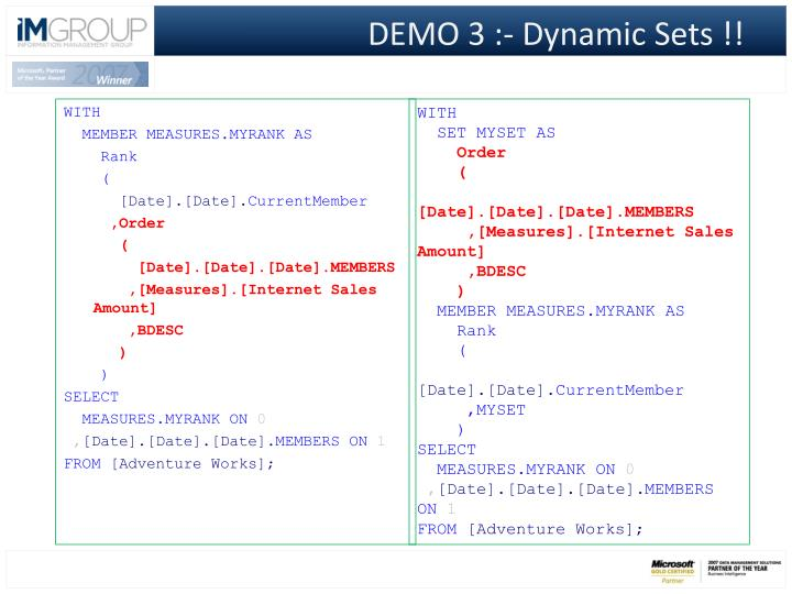 DEMO 3 :- Dynamic Sets !!