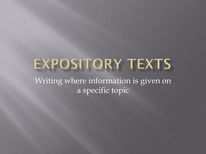expository texts n.