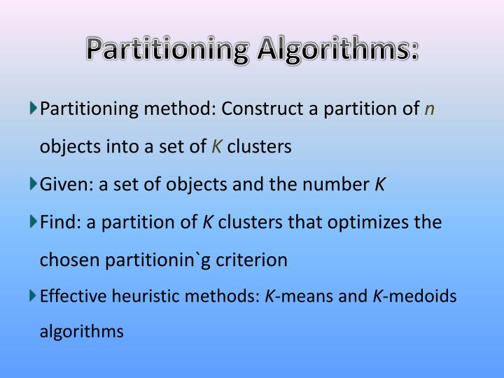 Partitioning Algorithms:
