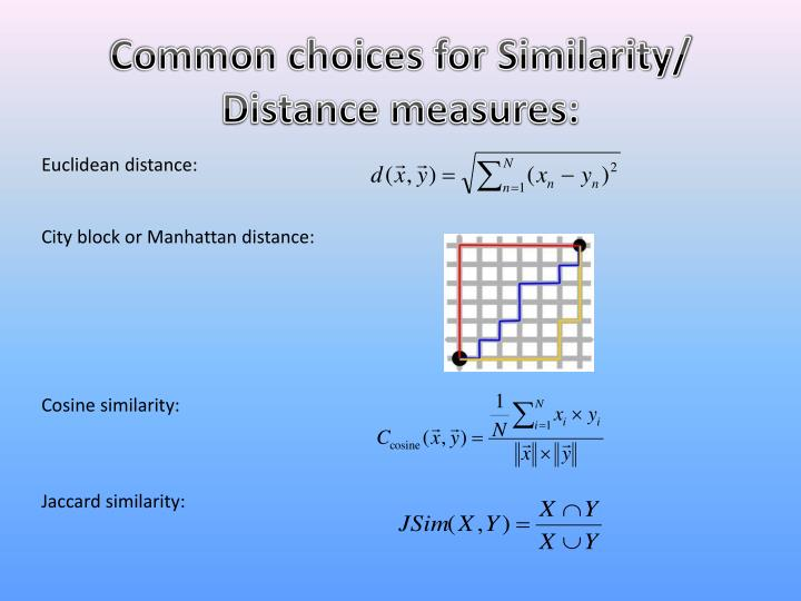 Common choices for Similarity/ Distance measures: