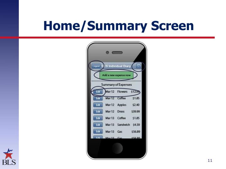 Home/Summary Screen