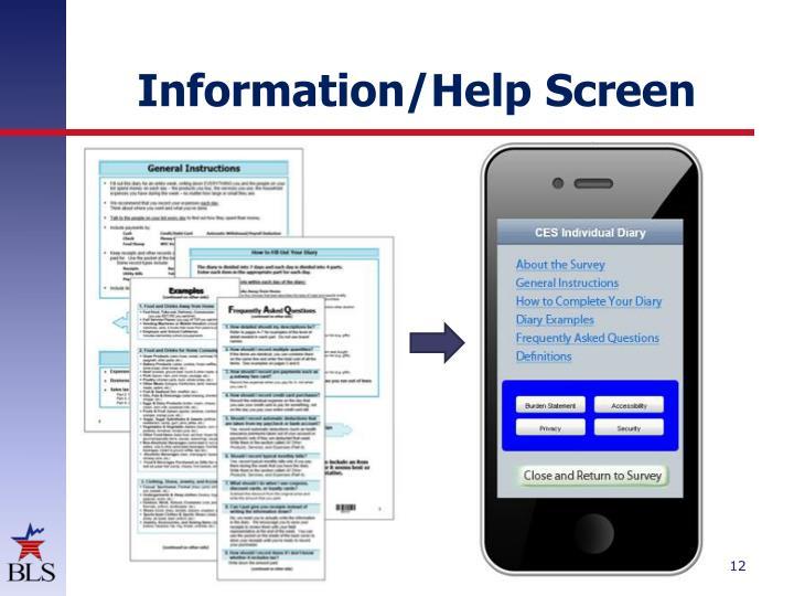 Information/Help Screen