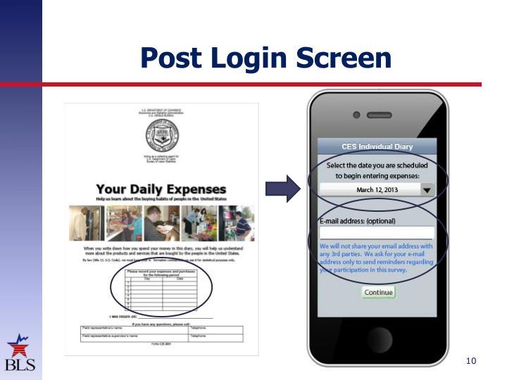 Post Login Screen