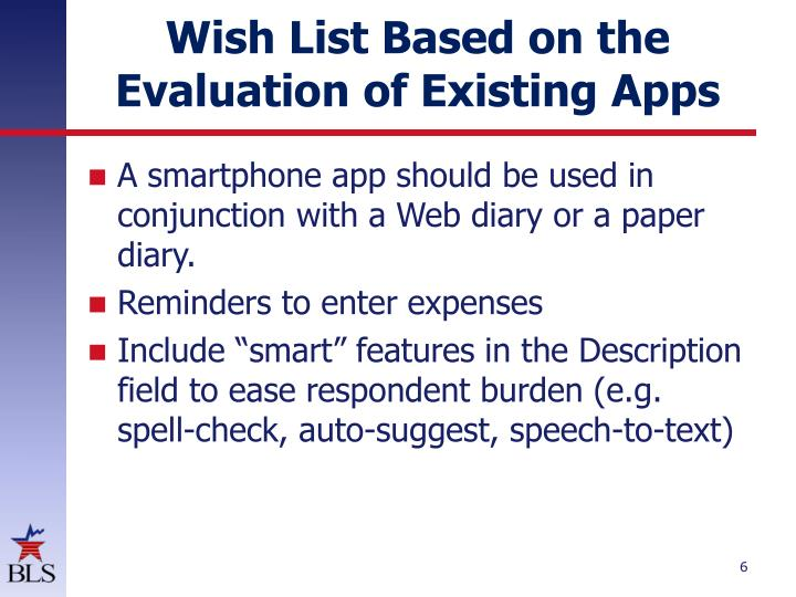 Wish List Based on the Evaluation of Existing Apps