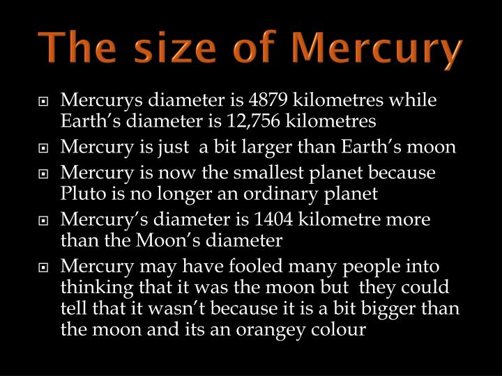 The size of Mercury