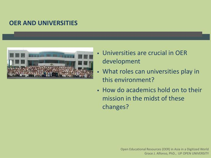 Universities are crucial in OER development