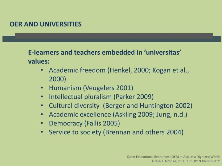 OER AND UNIVERSITIES