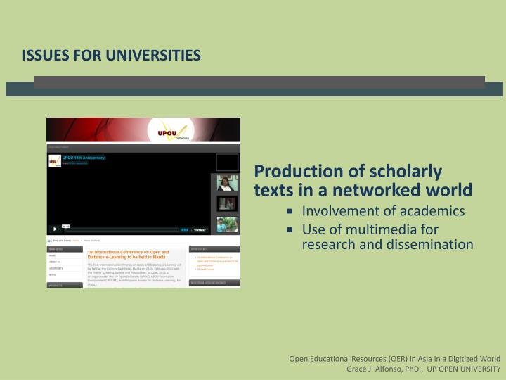 Production of scholarly texts in a networked world