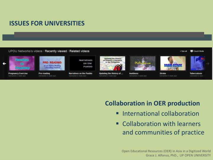 ISSUES FOR UNIVERSITIES