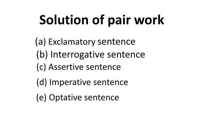 Solution of pair work