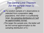the central limit theorem for the sample mean x