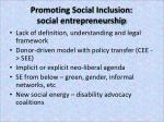 promoting social inclusion social entrepreneurship
