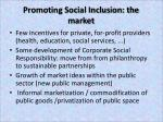 promoting social inclusion the market