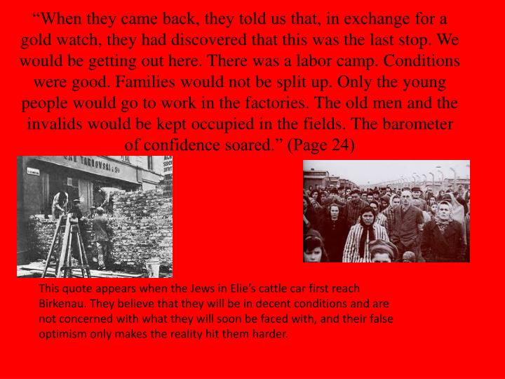"""""""When they came back, they told us that, in exchange for a gold watch, they had discovered that this was the last stop. We would be getting out here. There was a labor camp. Conditions were good. Families would not be split up. Only the young people would go to work in the factories. The old men and the invalids would be kept occupied in the fields. The barometer of confidence soared."""" (Page 24)"""