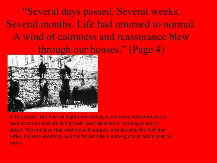 """""""Several days passed. Several weeks. Several months. Life had returned to normal. A wind of calmness and reassurance blew through our houses."""" (Page 4)"""