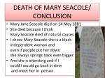 death of mary seacole conclusion