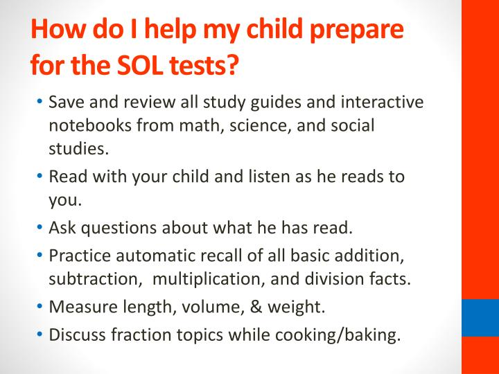 How do I help my child prepare for the SOL tests?