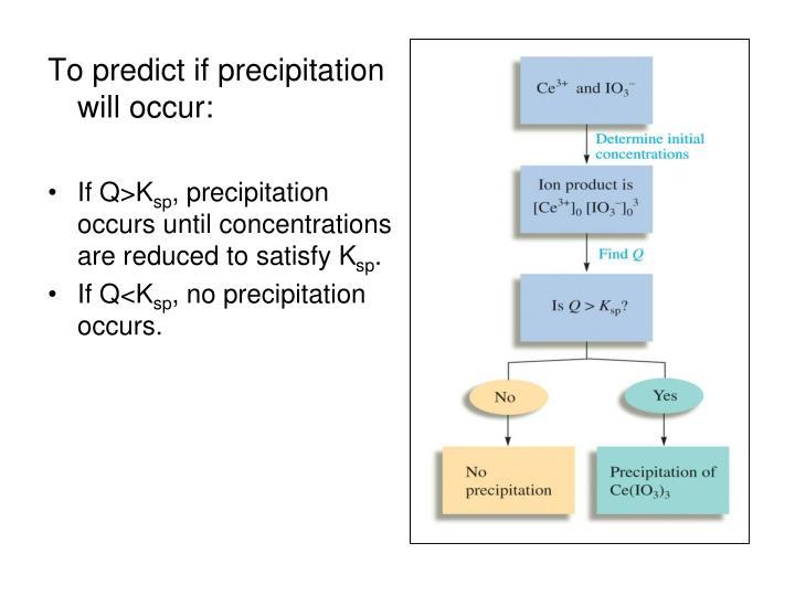 To predict if precipitation will occur: