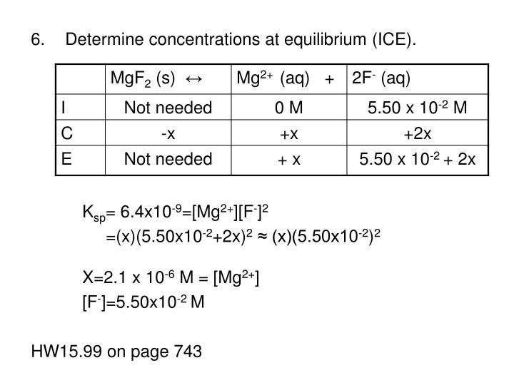 Determine concentrations at equilibrium (ICE).