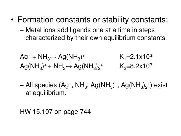 Formation constants or stability constants: