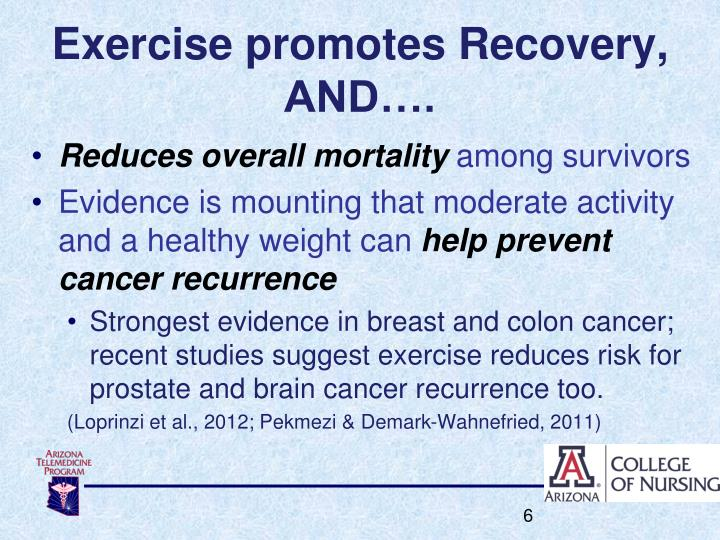 Exercise promotes Recovery, AND….